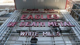La façade de l'Olympia, à l'occasion d'un concert des Eagles of Death Metal, le 16 février 2016. (JACQUES DEMARTHON / AFP)