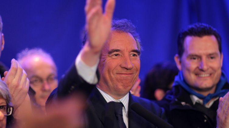 François Bayrou, vainqueur de l'élection municipale àPau le 30 mars 2014, photographié ici à l'issue du premier tour le 23 mars. (  MAXPPP)