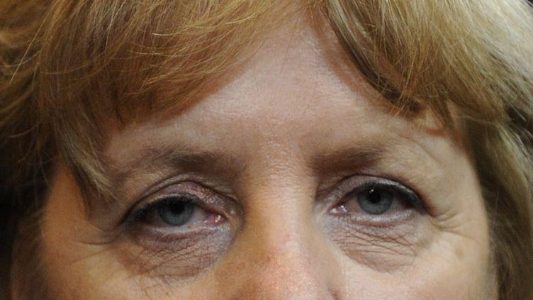 La chancelière allemande, Angela Merkel, après une nuit de dures négociations, à Bruxelles (Belgique), le 29 juin 2012. (JOHN THYS / AFP)