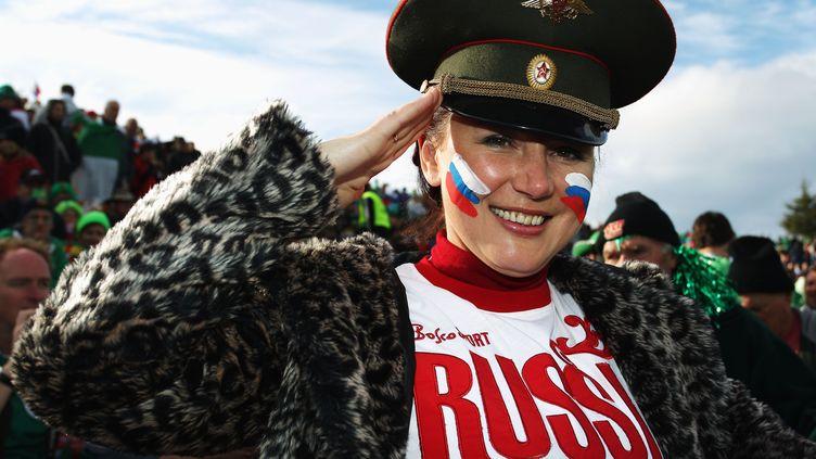 Une supportrice de l'équipe de Russie lors de la Coupe du monde 2011, à Rotorua (Nouvelle-Zélande), le 25 septembre 2011. (HAGEN HOPKINS / GETTY IMAGES ASIAPAC)