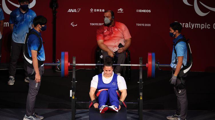 L'haltérophile Souhad Ghazouani a décroché, dimanche 29 août,la médaille de bronze dans lacatégorie des -73kg. (NGUYEN TUAN / CPSF)