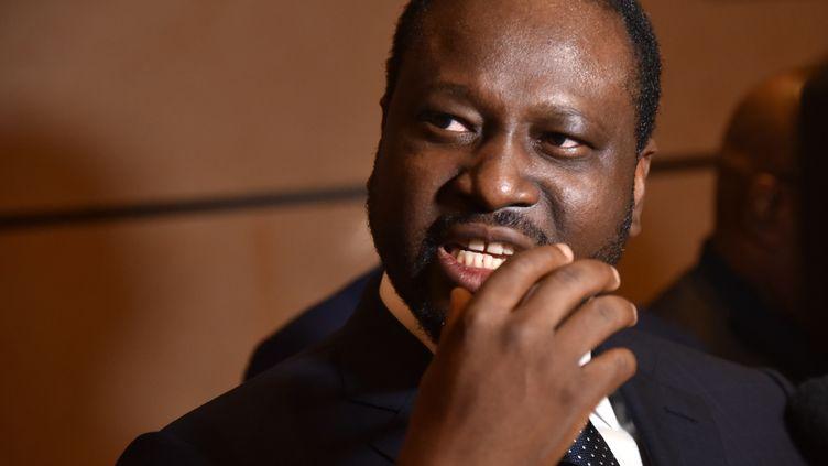 Guillaume Soro s'adresse à la presse le 20 juillet 2017 à l'aéroport international d'Abidjan. A l'époque, il était encore président de l'Assemblée nationale de Côte d'Ivoire. (AFP)