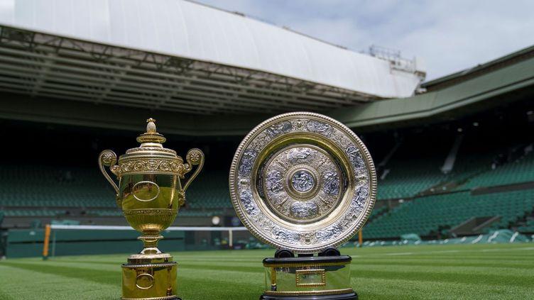Presentation à la presse dans l'enceinte de Wimbledon à Londres, le 26 juin 2021, des trophées remis aux vainqueurs du célèbre tournoi britannique. (Illustration) (AELTC / THOMAS LOVELOCK / AFP / POOL)