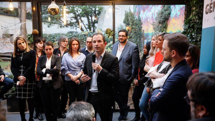 Le fondateurde Génération.s, Benoît Hamon, présente les 30 premiers noms de la liste des candidats de son mouvement pour les élections européennes, le 26 février 2019 à Paris. (MAXPPP)