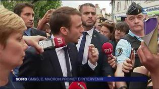 Emmanuel Macron a rencontré les salariés de GM&S. (FRANCE 3)