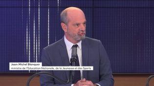Le ministre de l'Education Jean-Michel Blanquer sur france info mardi 28 septembre 2021. (FRANCEINFO / RADIO FRANCE)