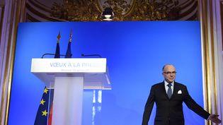 Vœux à la presse de Bernard Czeneuve, le 18 janvier 2017. (ERIC FEFERBERG / AFP)