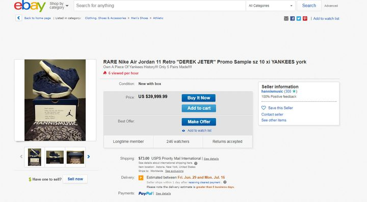"""Modèle de Air Jordan 11 Retro """"Jeter"""" en vente sur Ebay à 39.999 dollars"""