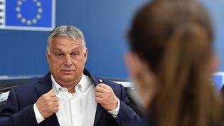 Le Premier ministre hongrois, Viktor Orban au Conseil européen à Bruxelles (Belgique), le 19 juillet 2020. (JOHN THYS / POOL)
