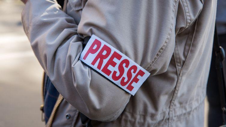 Un journaliste lors d'une manifestation à Paris, le 15 évrier 2019. (RICCARDO MILANI / HANS LUCAS / AFP)