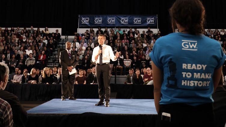 Emmanuel Macron à l'université George Washington, mercredi 25 avril 2018. (LUDOVIC MARIN / AFP)