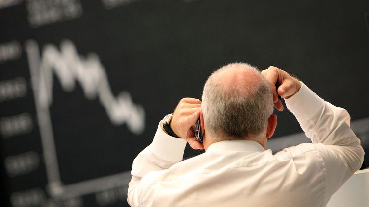 Un trader à la Bourse de Francfort (Allemagne), le 2 novembre 2011. (DANIEL ROLAND / AFP)