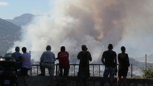 Des habitants de Carros (Alpes-Maritimes) devant l'incendie, le 24 juillet 2017. (VALERY HACHE / AFP)