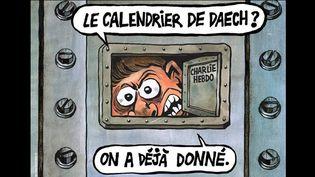 """""""Charlie Hebdo"""" : détail de la Une du numéro du 3 janvier 2018  (Charlie Hebdo)"""