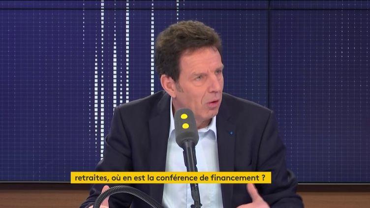 Geoffroy Roux de Bezieux, président du Medef, sur franceinfo lundi 10 février. (FRANCEINFO / RADIOFRANCE)