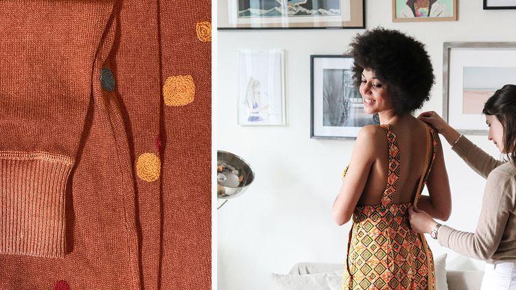 Une réparation créative sur un pull en tricot (à gauche). Une couturière Tilli réajuste une robe à la taille de sa cliente (Good Gang Paris (à gauche), Tilli (à droite))