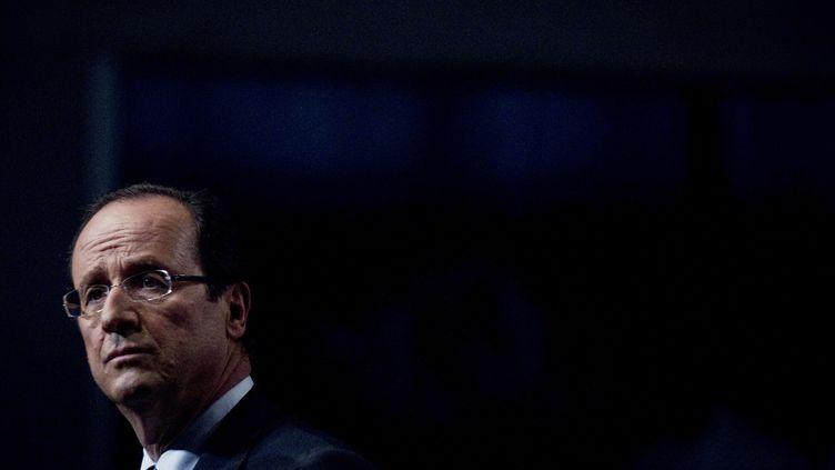 François Hollande lors de la convention d'investiture du PS pour l'élection présidentielle, le 22 octobre à Paris. (JOEL SAGET/AFP)
