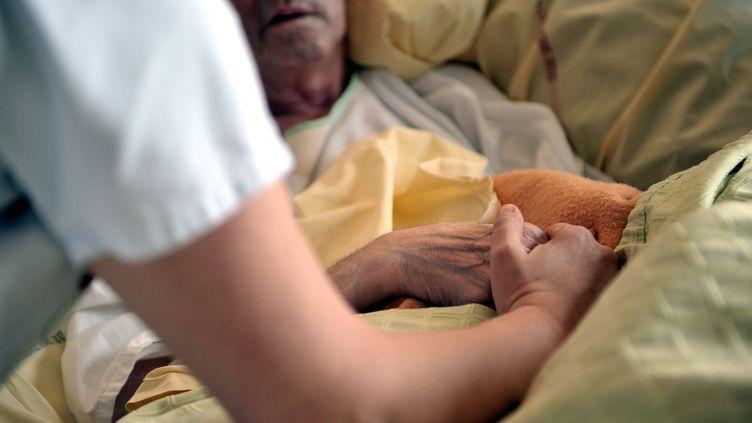 Une infirmière tient la main d'un patient dans une unité de soins palliatifs au centre hospitalier d'Auxerre (Yonne) le 11 février 2013. (MAXPPP)