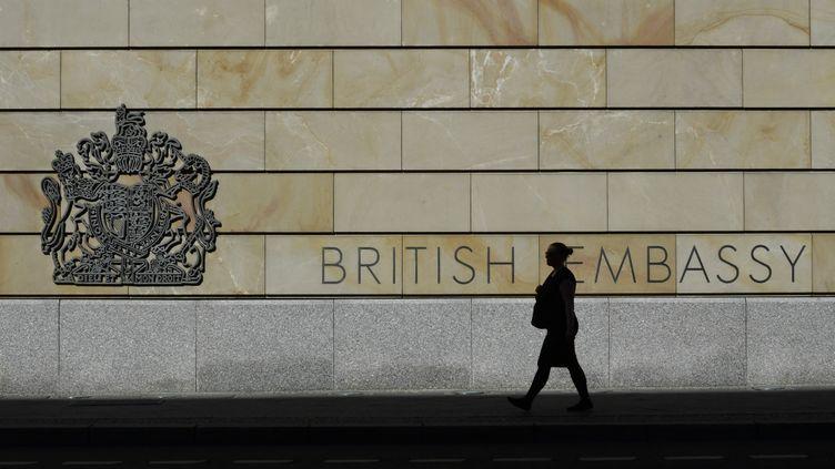 La façade de l'ambassade du Royaume-Uni à Berlin (Allemagne), le 24 juin 2016. (JOHN MACDOUGALL / AFP)