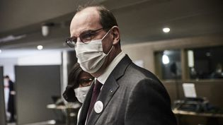 Le Premier ministre, Jean Castex, en déplacement à Paris, le 8 mars 2021. (ANTONIN BURAT / HANS LUCAS / AFP)