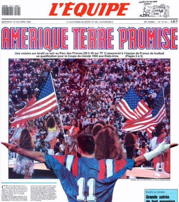 """La une de """"L'Equipe"""", le jour du match France-Israël, le 13 octobre 1993. (L'EQUIPE)"""