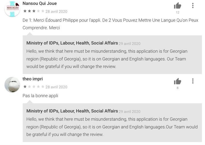 Des commentaires d'utilisateurs français de l'application géorgienne Stop Covid laissés sur le Google Play Store. (CAPTURE D'ÉCRAN / GOOGLE PLAY STORE)