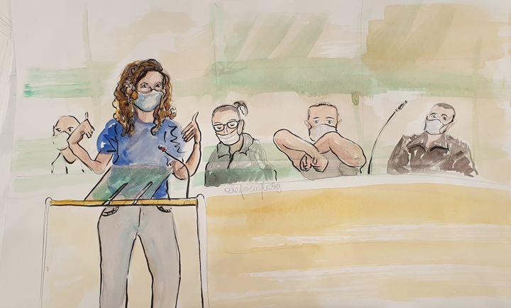 Sigolène Vinson lors de son témoignage au procès des attentats de janvier 2015, le 8 septembre 2020. (ELISABETH DE POURQUERY / FRANCEINFO)