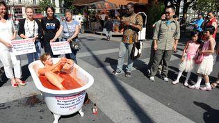 """Manifestation de l'association PETA""""People for the Ethical Treatment of Animals"""" pour l'interdiction totale en Europe des tests menés sur des animaux dans l'industrie cosmétique, le 8 aout 2012 à Paris (MEHDI FEDOUACH / AFP)"""