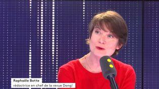"""Raphaële Botte, rédactrice en chef et co-fondatrice de la revue pour adolescents """"Dong!"""", sur franceinfo vendredi 17 mai 2019. (FRANCEINFO / RADIOFRANCE)"""