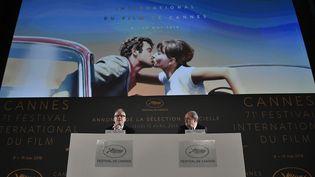 Thierry Frémaux et Pierre Lescure, conférence de presse Festival de Cannes 2018  (STEPHANE DE SAKUTIN / AFP)