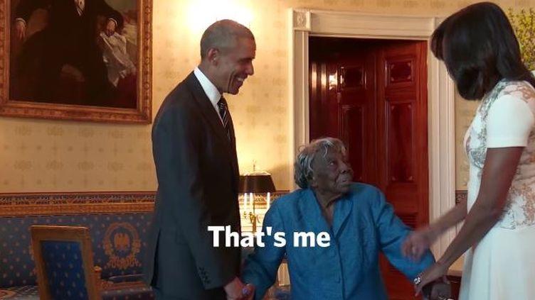 Barack et Michelle Obama accueillentVirginia McLaurin, 106 ans, à la Maison-Blanche. (WHITE HOUSE)