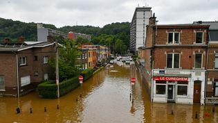 Liège (province de Namur), le 16 juillet 2021 après 48 heures d'inondations dévastatrices en Belgique et Allemagne. (BERNARD GILLET / BELGA MAG)