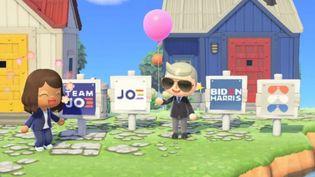 """Les joueurs du jeu vidéo """"Animal Crossing"""" peuvent maintenant mettre dans leur jardin virtuelune pancarte en soutien au candidat démocrate Joe Biden (capture écran). (TWITTER / NINTENDO)"""
