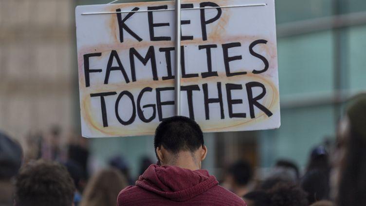 Lors d'une manifestation contre la politique de Donald Trump sur l'immigration, le 9 juin 2019, à Los Angeles (Etats-Unis). (DAVID MCNEW / AFP)
