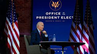 Joe Bidenlors d'un meeting virtuel à Wilmington, dans le Delaware, (Etats-Unis) lundi 23 novembre 2020. (CHANDAN KHANNA / AFP)