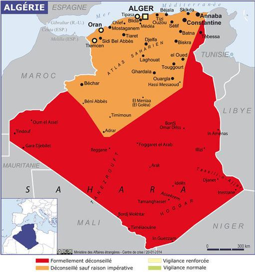 Toute l'Algérie est actuellement présentée comme une zone à risques sur lesite du Quai d'Orsay. La Kabylie est en orange à l'est d'Alger. (Ministère des Affaires étrangères)