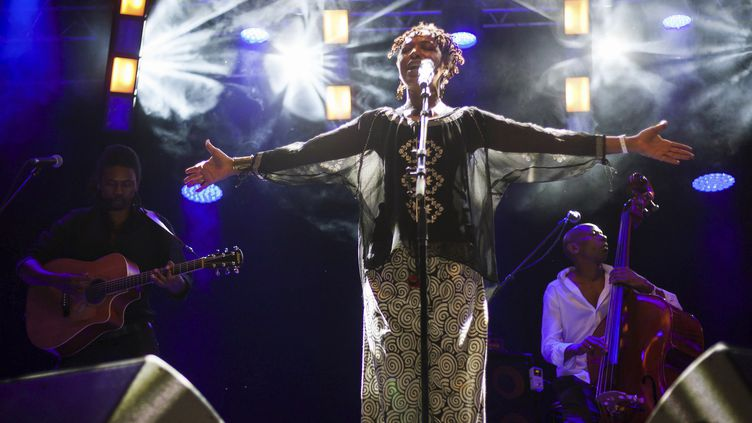 Lisa Simone a tout donné lors de sa prestation.  (Yohan Bonnet / AFP)