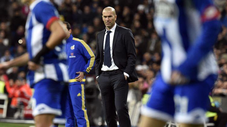"""""""Je viens d'arriver et il faut prendre le temps"""", a prévenu Zinedine Zidane après son premier succès sur le banc du Real  (GERARD JULIEN / AFP)"""