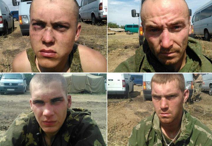 Photos publiées par les services de sécurité ukrainiens le 26 août 2014, montrant selon elles des parachutistes russes capturés non loin de Donetsk (Ukraine). (AFP / SBU PRESS SERVICE)