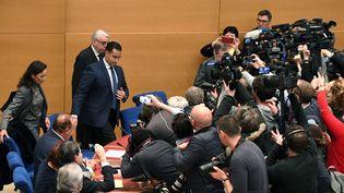 L'ancien chagrgé de mission de l'Elysée Alexandre Benalla arrivant devant la commission d'enquête du Sénat, le 21 janvier 2019 à Paris. (ALAIN JOCARD / AFP)