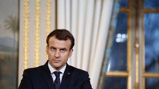 Emmanuel Macron participe à une conférence de presse, le 19 décembre 2017, à l'Elysée. (MAXPPP)
