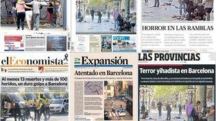 Des unes de la presse espagnole, le 18 août 2017, au lendemain des attentats qui ont frappé la catalogne. (FRANCEINFO)
