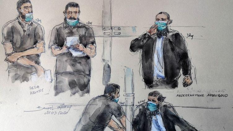 Un croquis réalisé le 8 avril 2021 montreReda Kriket et Abderrahmane Ameuroud pendant l'audience, devant la cour d'assises spéciale de Paris. (BENOIT PEYRUCQ / AFP)