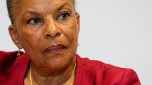 Christiane Taubira, le 26 avril 2018 à Bruxelles. (STEPHANIE LECOCQ / EPA)