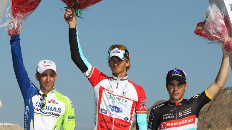 Peter Velits vainqueur, Vincenzo Nibali 2e, Tony Gallopin 3e, le podium du Tour d'Oman 2012