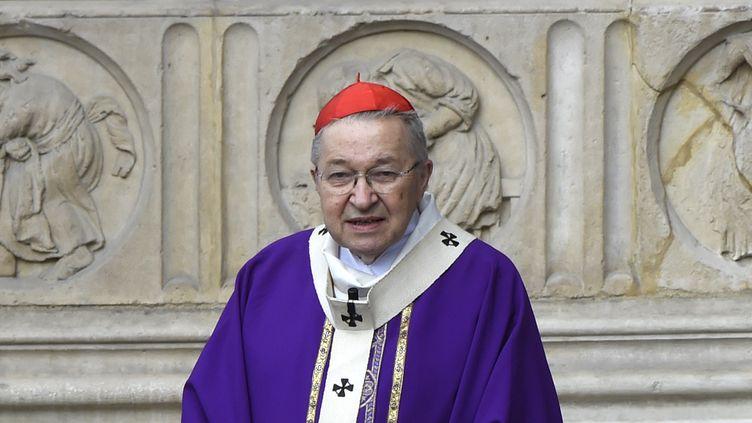 (Le cardinal Vingt-Trois, archevêque de Paris, devant la cathédrale Notre-Dame de Paris © AFP / DOMINIQUE FAGET)