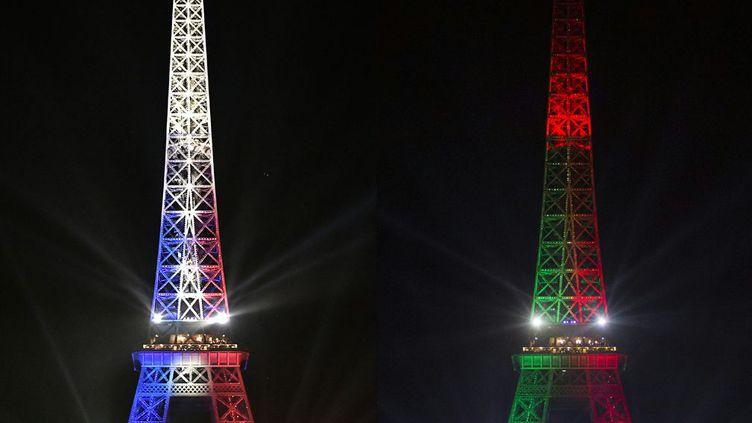 se parera, ce soir, de seulement l'un de ces deux drapeaux. Ce sera celui du vainqueur de l'Euro 2016 de football se tenant en France. La finale se joue au Stade de France, à Saint-Denis aux portes de Paris. Que le meilleur gagne !     (PHILIPPE LOPEZ GEOFFROY VAN DER HASSELT / AFP)