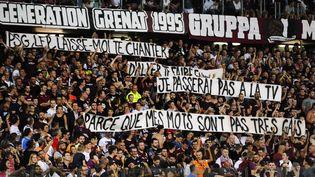 La banderole des supporters messins, qui a provoqué l'interruption du match de Ligue 1 entre Metz et Paris le 30 août 2019. (JEAN-CHRISTOPHE VERHAEGEN / AFP)