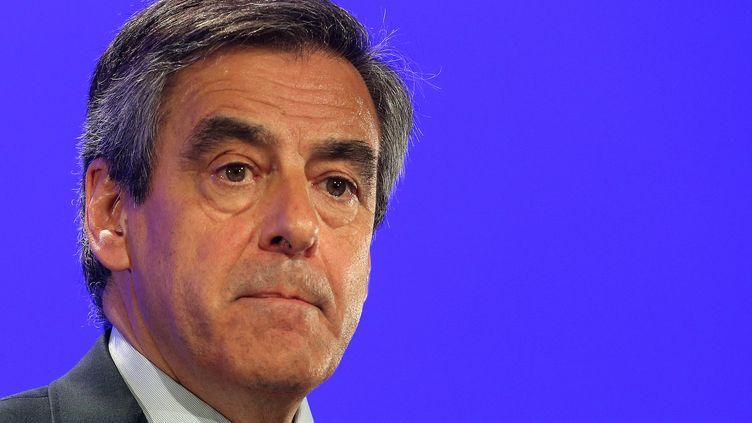 Le candidat Les Républicains à l'élection présidentielle, François Fillon, lors d'un meeting à Compiègne (Oise), le 15 février 2017. (FRANCOIS NASCIMBENI / AFP)