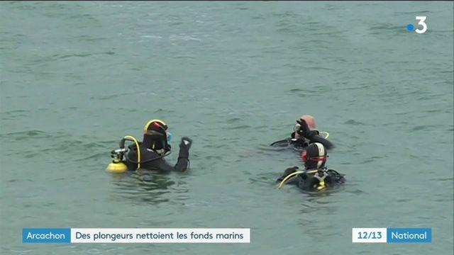 Arcachon : des plongeurs nettoient les fonds marins